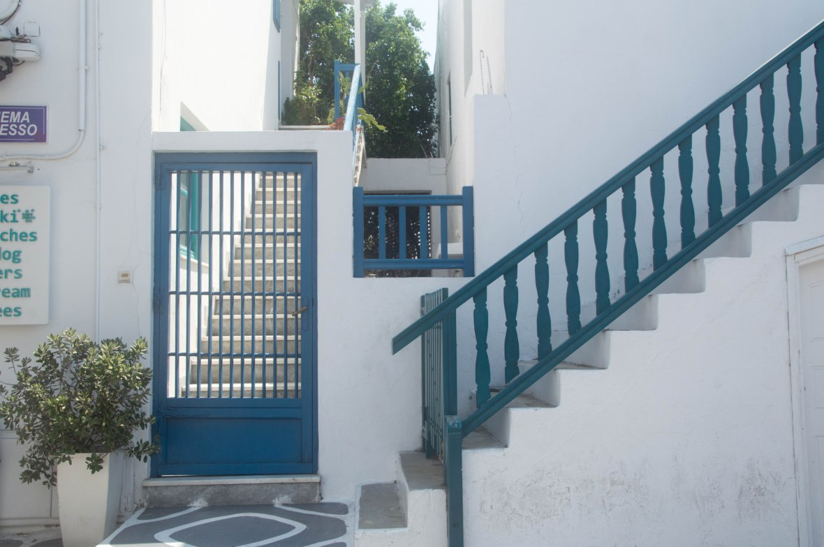 Blue Door and Stairs, Mykonos Town, Greece