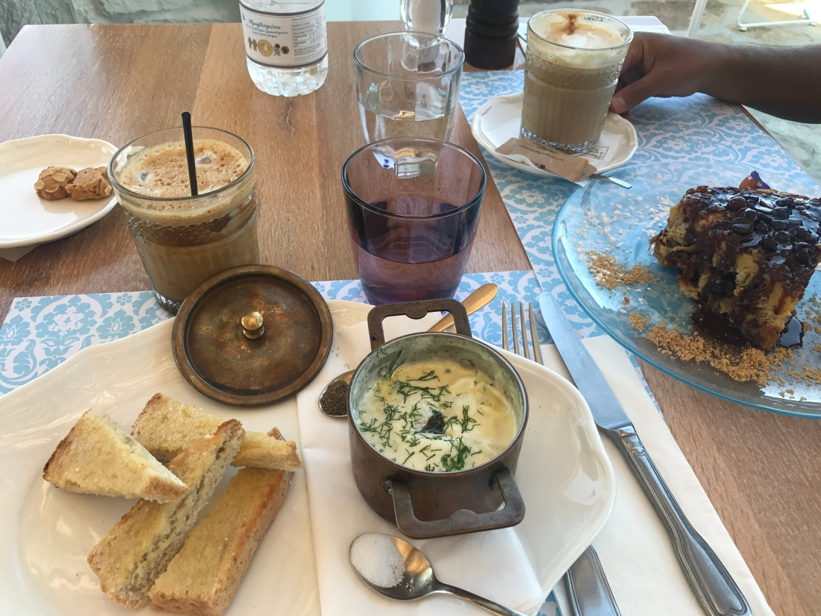 Eggs And Croissant Pudding, The Liberty Breakfast Room, Mykonos, Greece