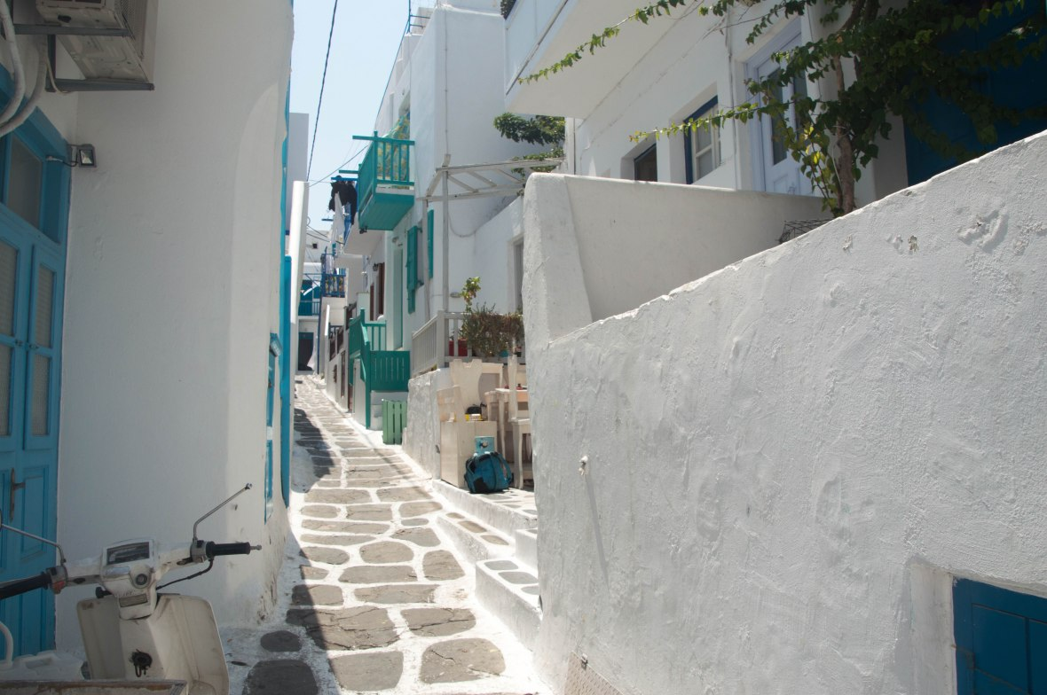 Green And White Houses, Mykonos Town, Greece