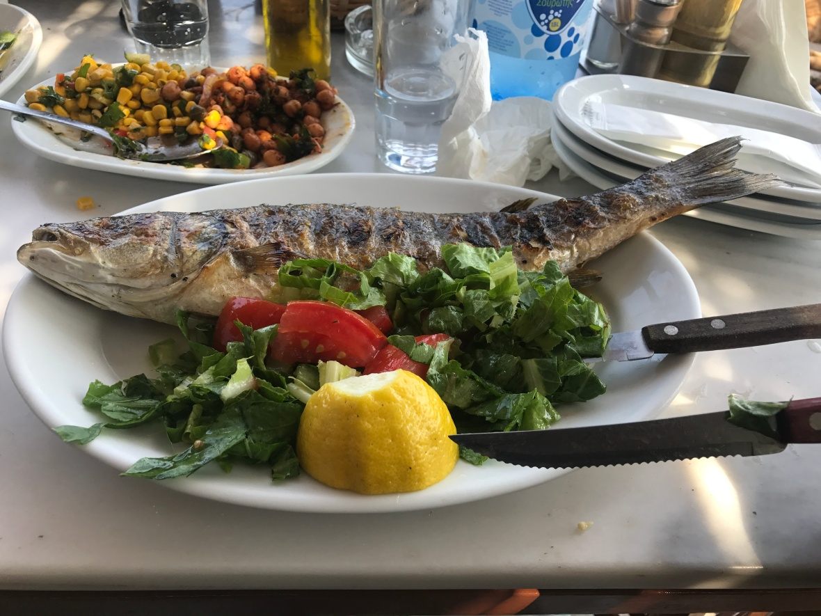Grilled Sea Bass, Kiki's, Mykonos, Greece
