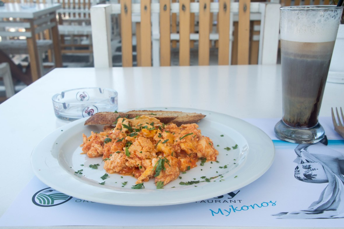 Scrambled Eggs With Tomatoes and Feta, Nice n Easy, Mykonos, Greece