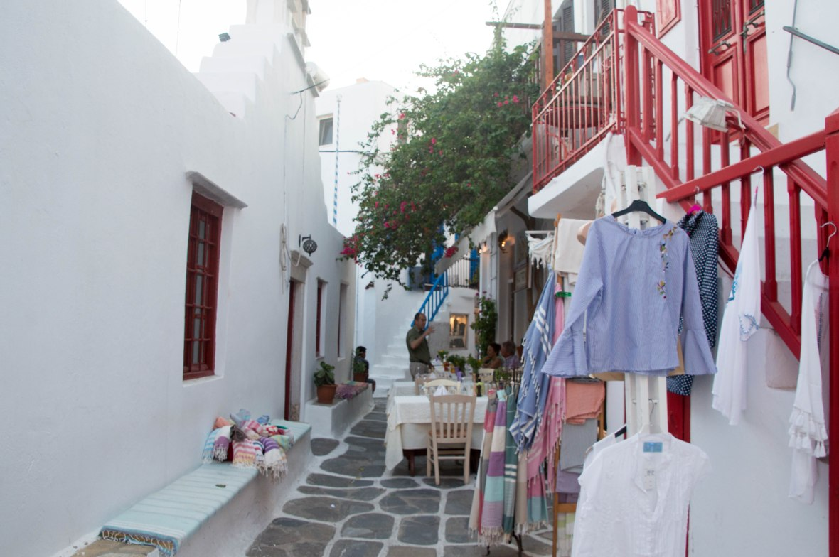 Shops And Restaurants, Mykonos Town, Greece