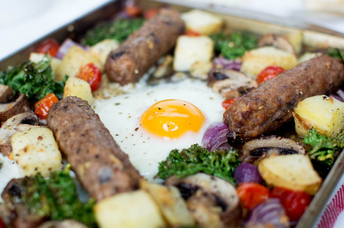 Sausage, Egg & Vegetable BrunchTray Bake - Kay's Kitchen