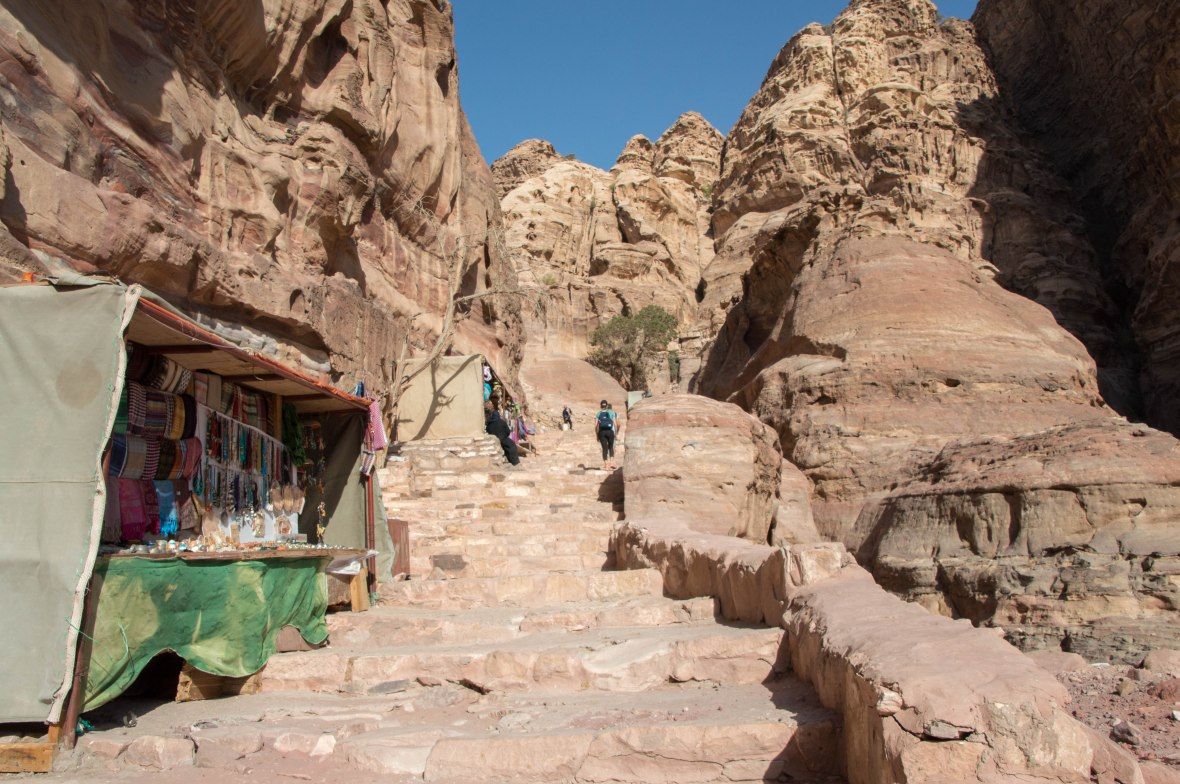 Climbing The Stairs To The Monastary, Petra, Jordan