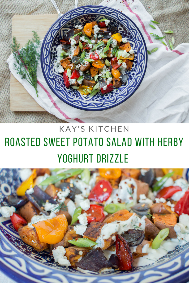 Roasted Sweet Potato Salad With Garlicky Herb Yoghurt - Kay's Kitchen