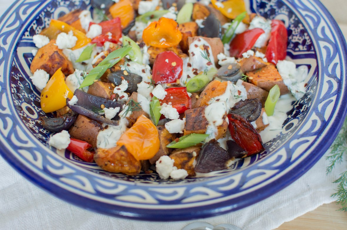 Roasted Sweet Potato Salad With Peppers, Onions & Dill Yoghurt Drizzle - Kay's Kitchen