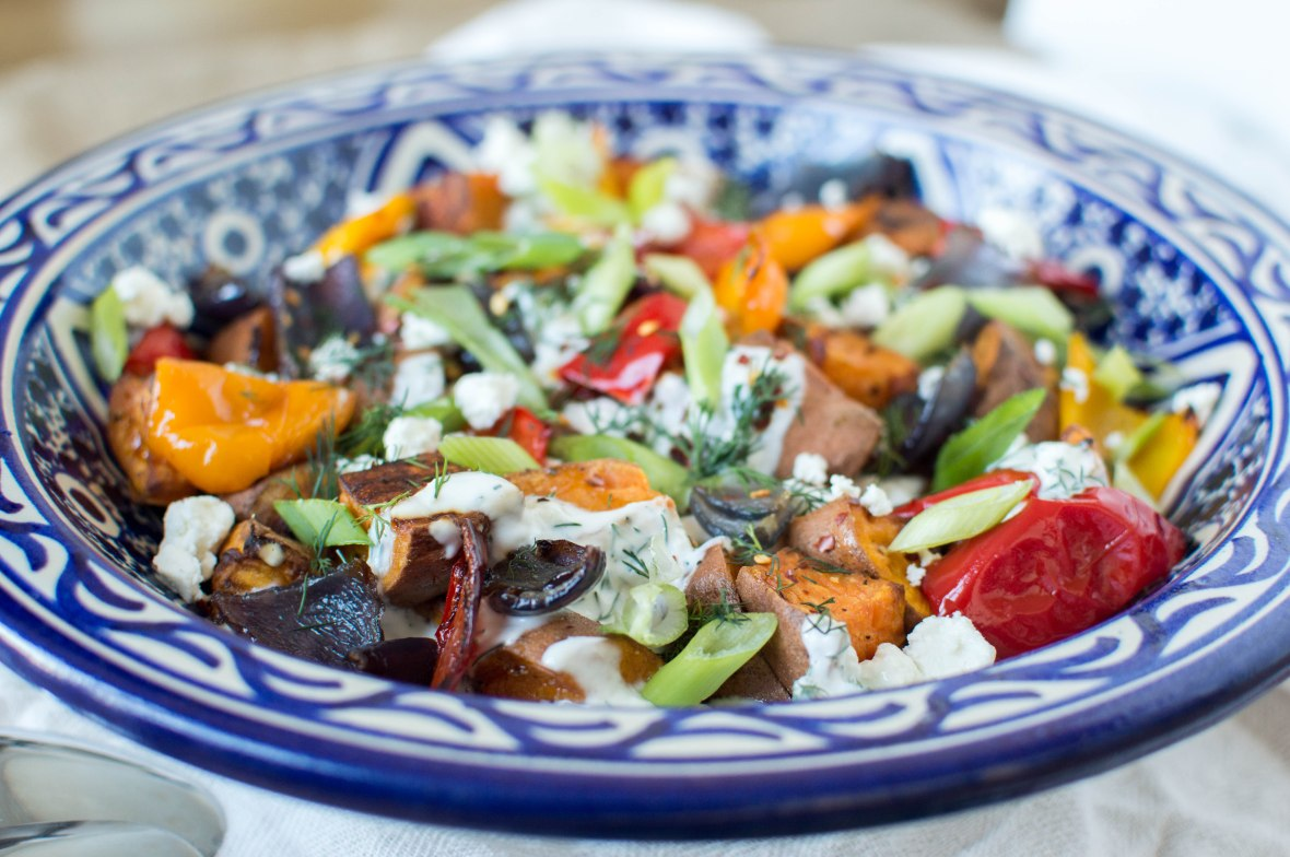 Roasted Sweet Potato Salad With Peppers, Onions & Herby Yoghurt - Kay's Kitchen