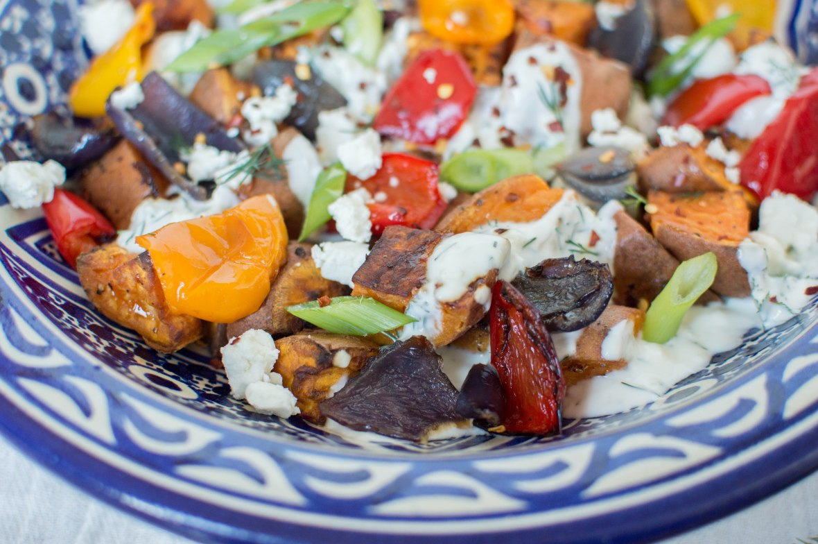 Sweet Potato, Red Onion And Pepper Salad With Garlic Herb Yoghurt & Feta - Kay's Kitchen