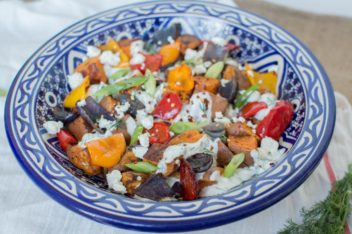 Sweet Potato Salad With Herby Yoghurt Drizzle And Feta - Kay's Kitchen