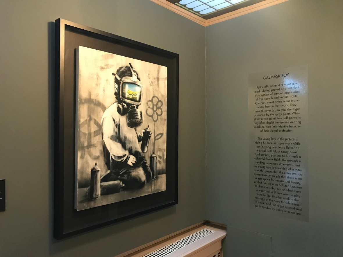 Gasmask Boy, Banksy Exhibition, Amsterdam, Netherlands