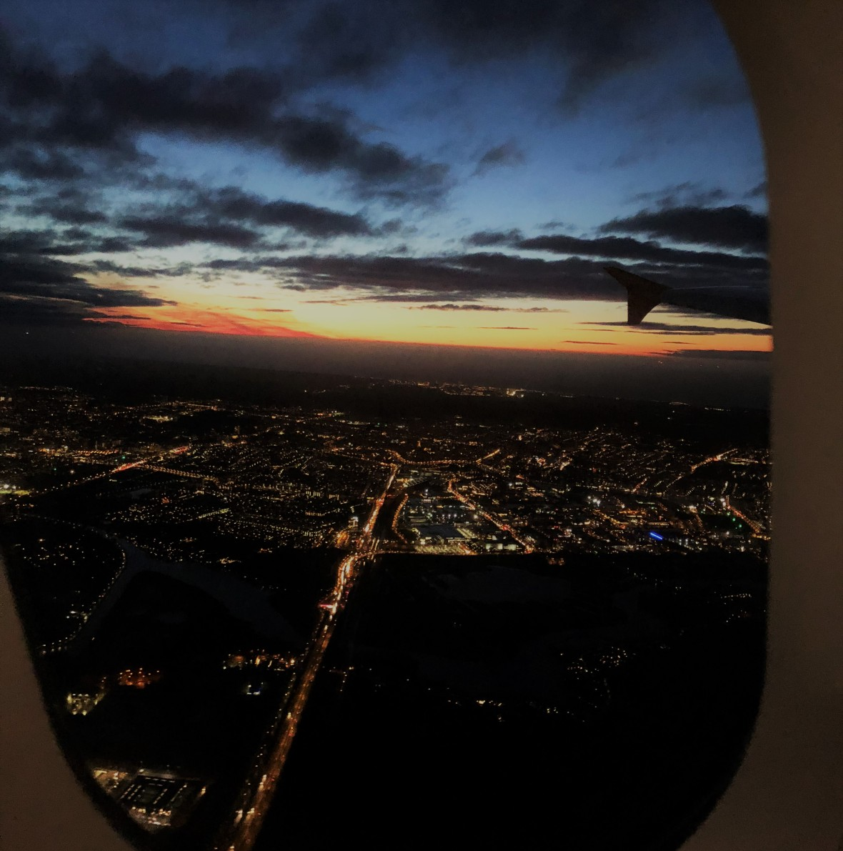 Sunset View Over Amsterdam From Plane, Netherlands.JPG