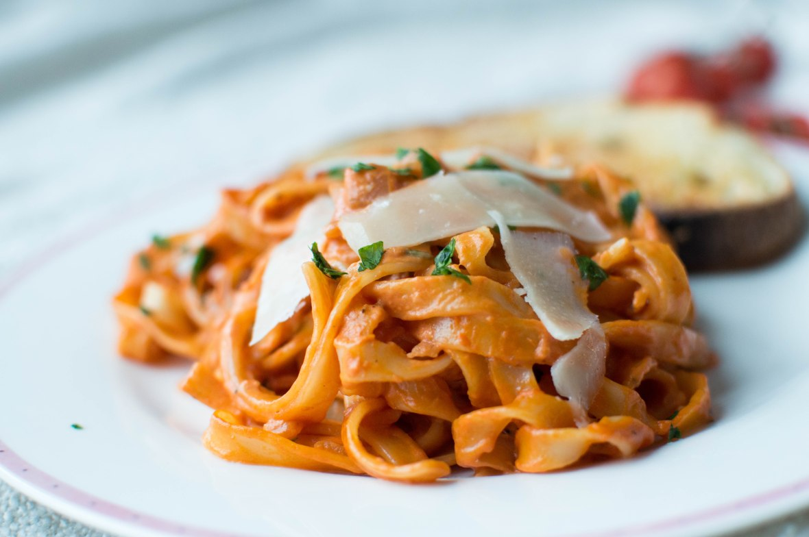 Cream And Tomato Tagliatelle Pasta Recipe - Kay's Kitchen