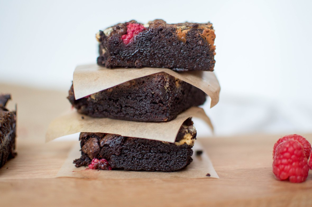Pile Of White Chocolate And Raspberry Brownies - Kay's Kitchen