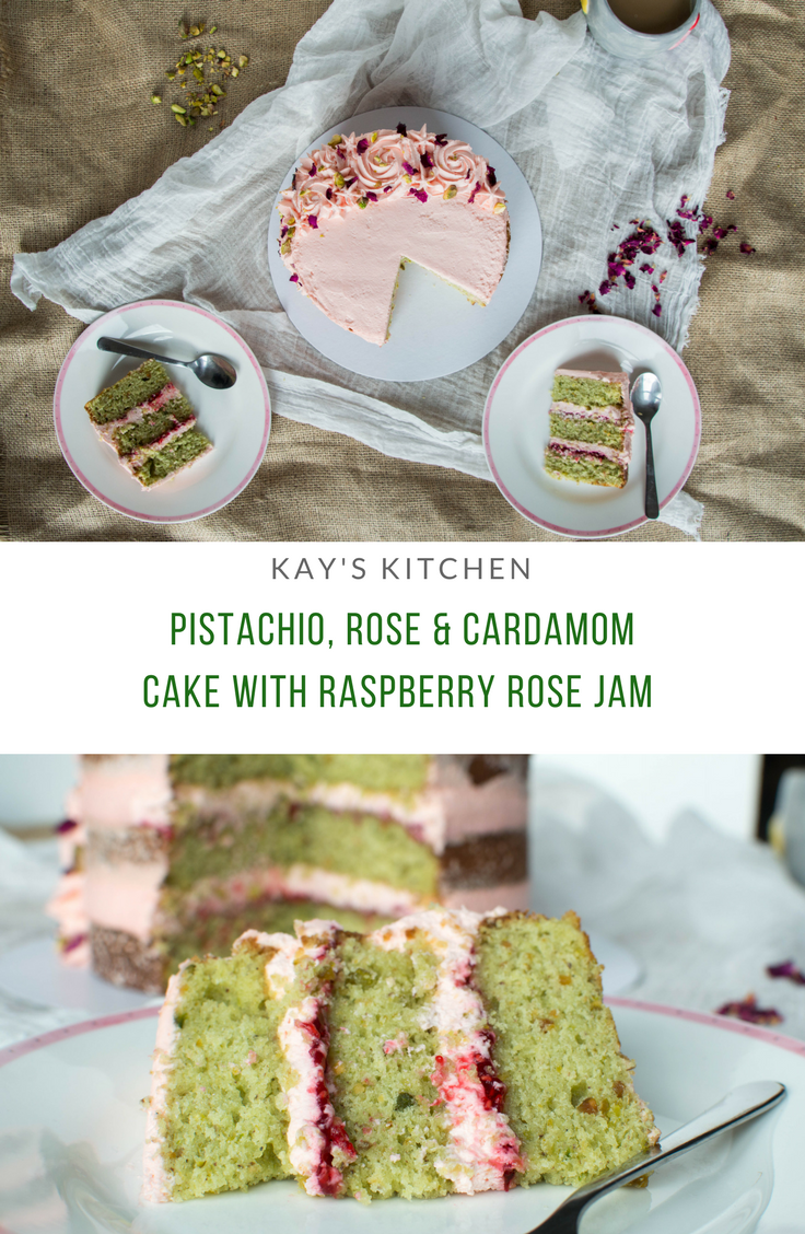 Pistachio, Rose & Cardamom Cake With Homemade Raspberry Rose Jam - Kay's Kitchen.png