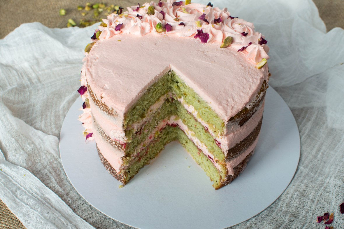 Rose, Pistachio And Cardamom Cake - Kay's Kitchen