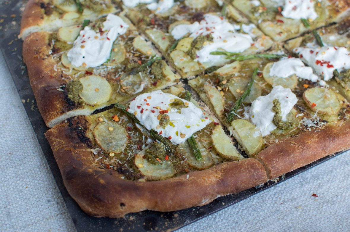 Asparagus, Potato and Pesto Based Pizza With Burrata - Kay's Kitchen