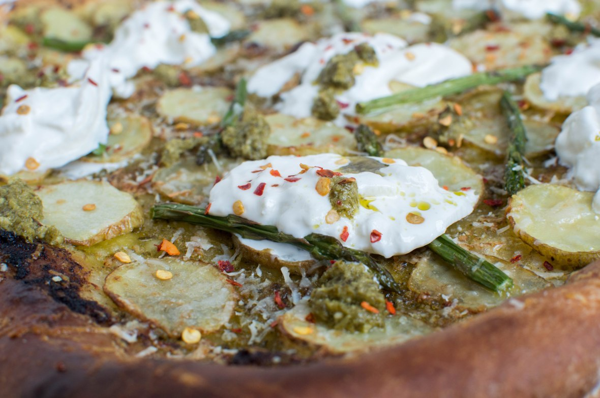 Burrata, Potato And Asparagus Pesto Based Pizza - Kay's Kitchen