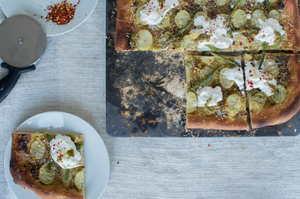 Pesto Based Pizza With Aspargus, Potato and Burrata - Kay's Kitchen