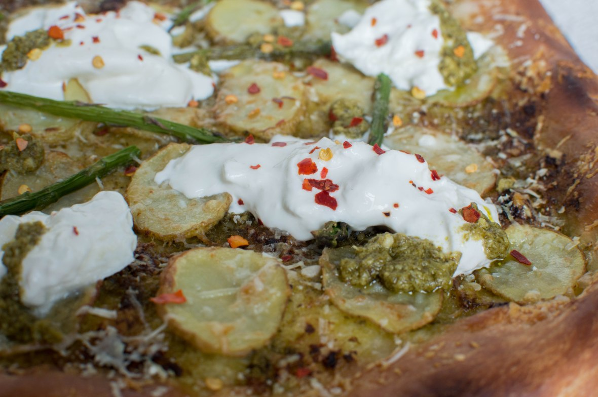 Pesto, Potato And Asparagus Pizza With Burrata - Kay's Kitchen