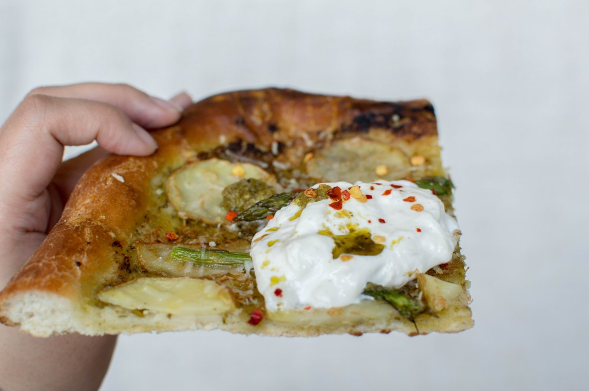 Potato, Asparagus & Pesto Pizza With Burrata - Kay's Kitchen