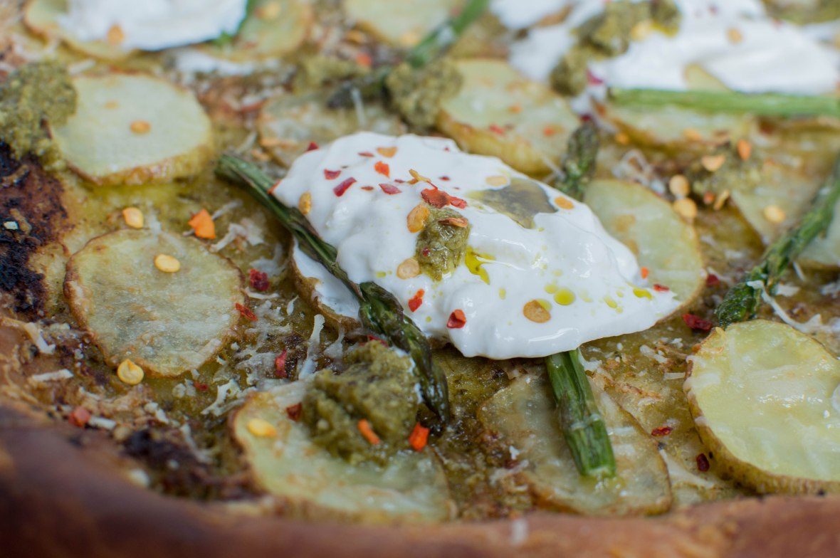 Potato, Pesto And Asparagus Pizza With Burrata - Kay's Kitchen