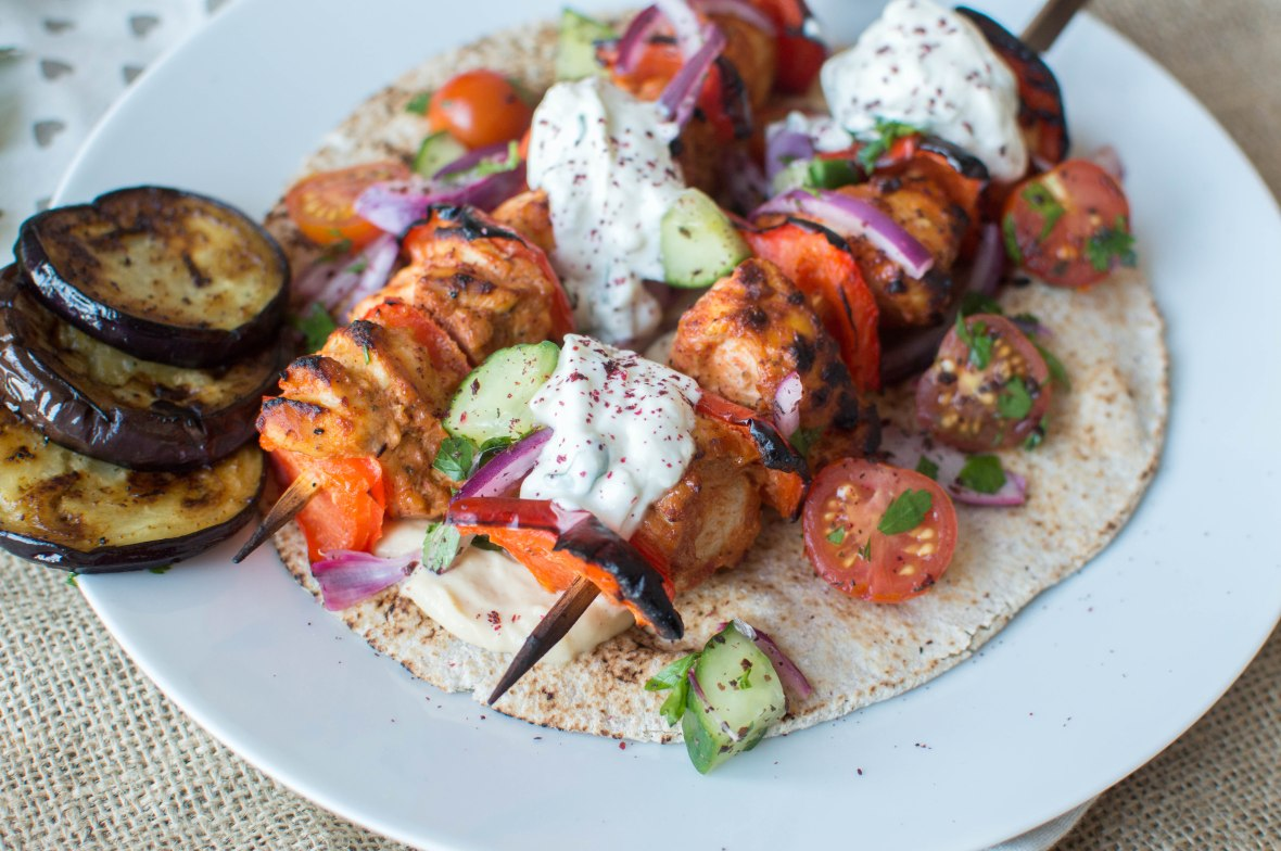 Chicken Shish Wrap With Aubergines, Tahini Yoghurt, Hummus and Turkish Salad - Kay's Kitchen