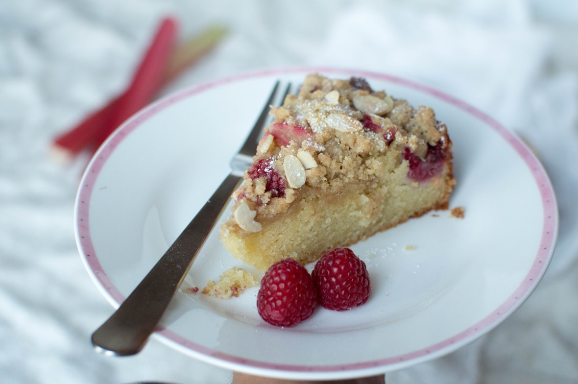 Raspberry And Rhubarb Crumble Cake With Almonds - Kay's Kitchen