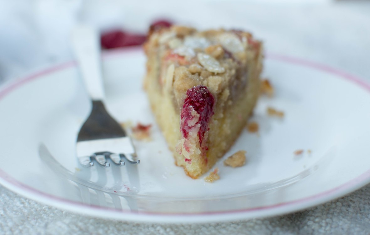 Raspberry, Rhubarb And Almond Crumble Cake - Kay's Kitchen