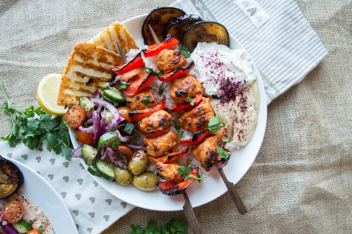 Recipe For Turkish Chicken Shish, Served With Rice, Halloumi, Aubergines, Salad And Dips - Kay's Kitchen
