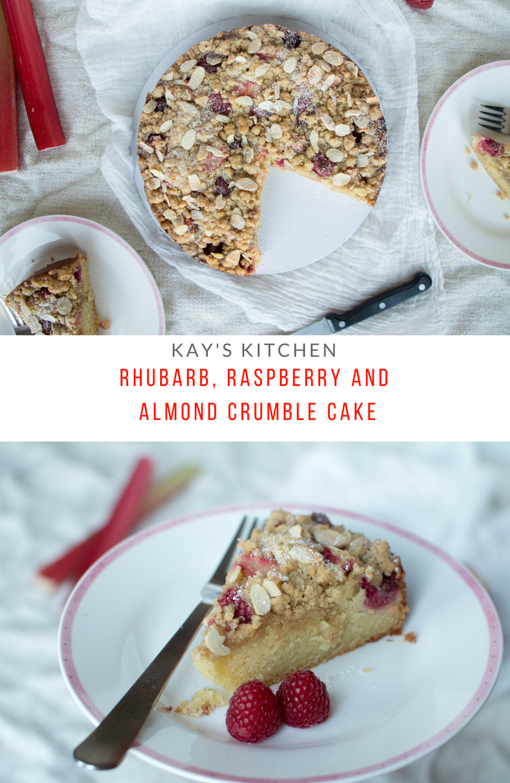 Rhubarb, Raspberry & Almond Crumble Cake - Kay's Kitchen