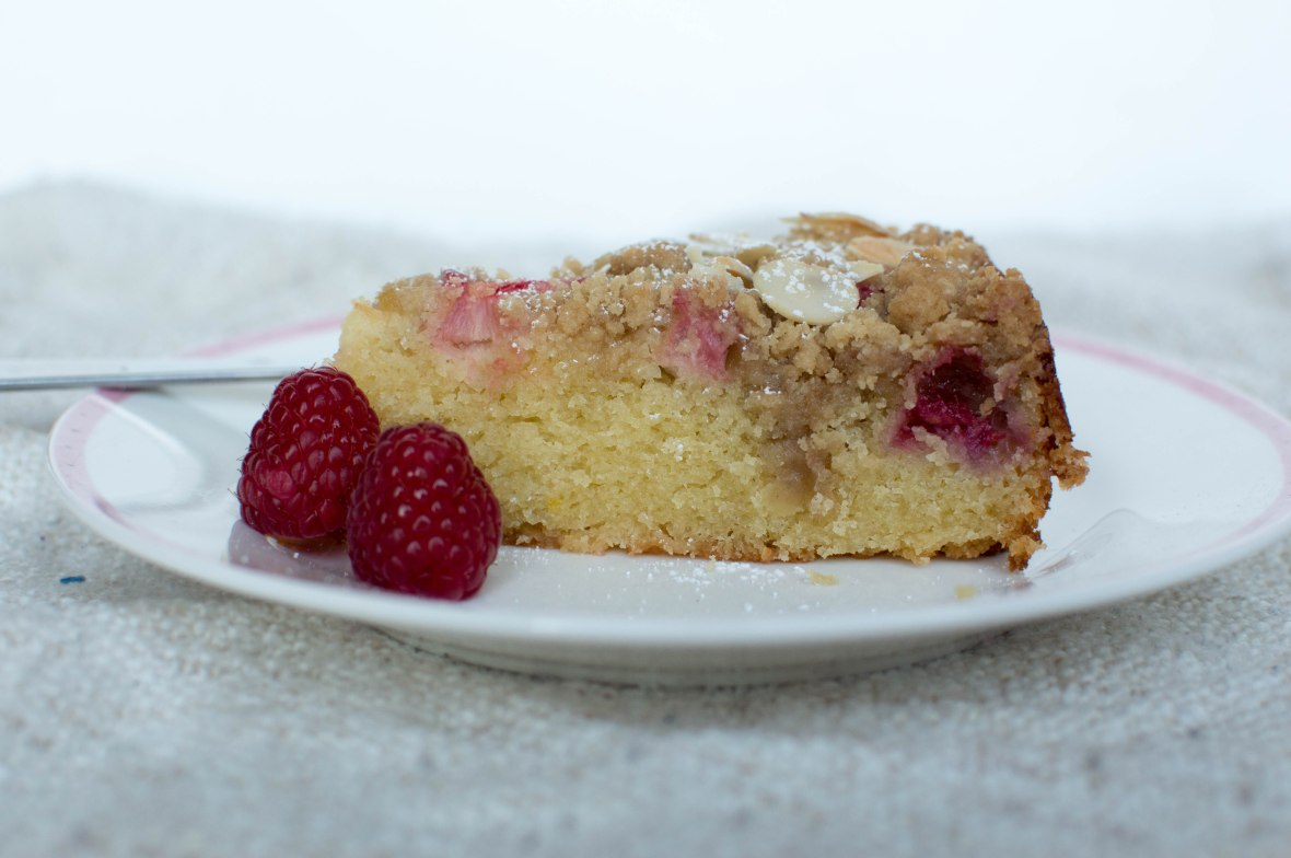 Slice Of Rhubarb, Raspberry And Almond Crumble Cake - Kay's Kitchen