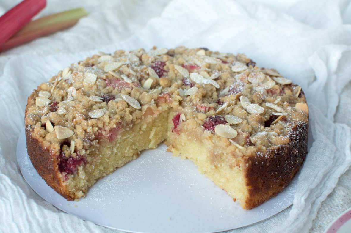 Summer Cake - Raspberry, Rhubarb And Almond Crumble Cake - Kay's Kitchen