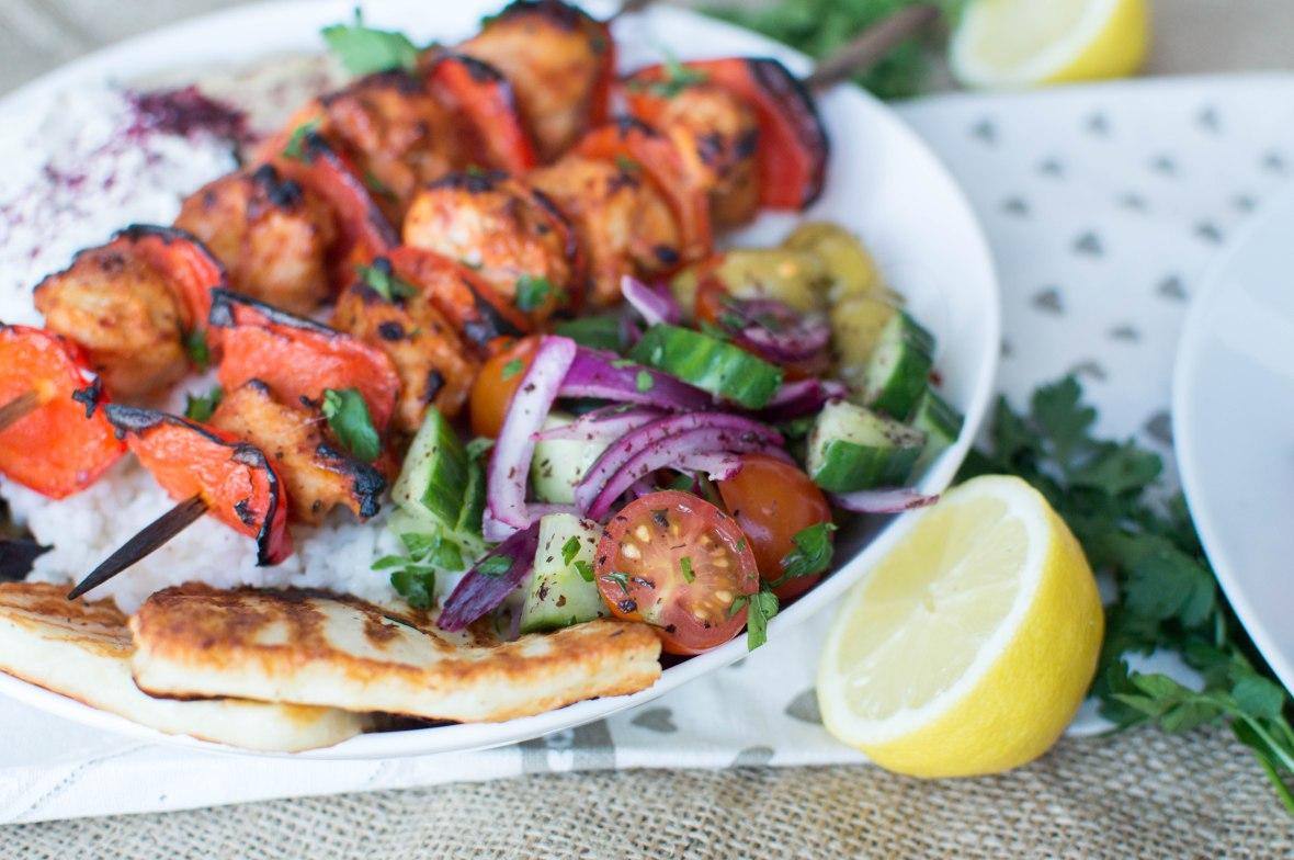 Turkish Chicken Shish Rice Bowl With Salad - Kay's Kitchen