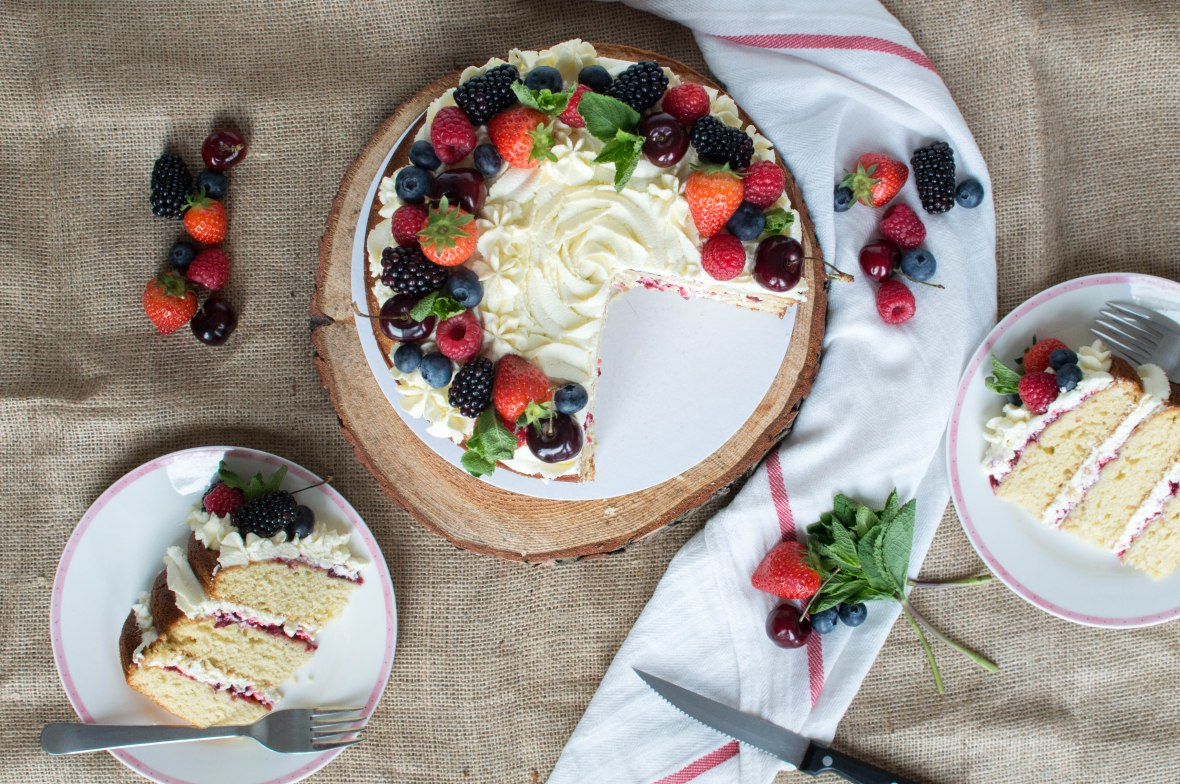 Berries And Cream Cake With Homemade Jam - Kay's Kitchen
