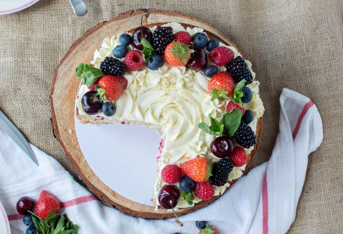 Berries And Cream Cake With Homemade Mixed Berry Jam - Kay's Kitchen