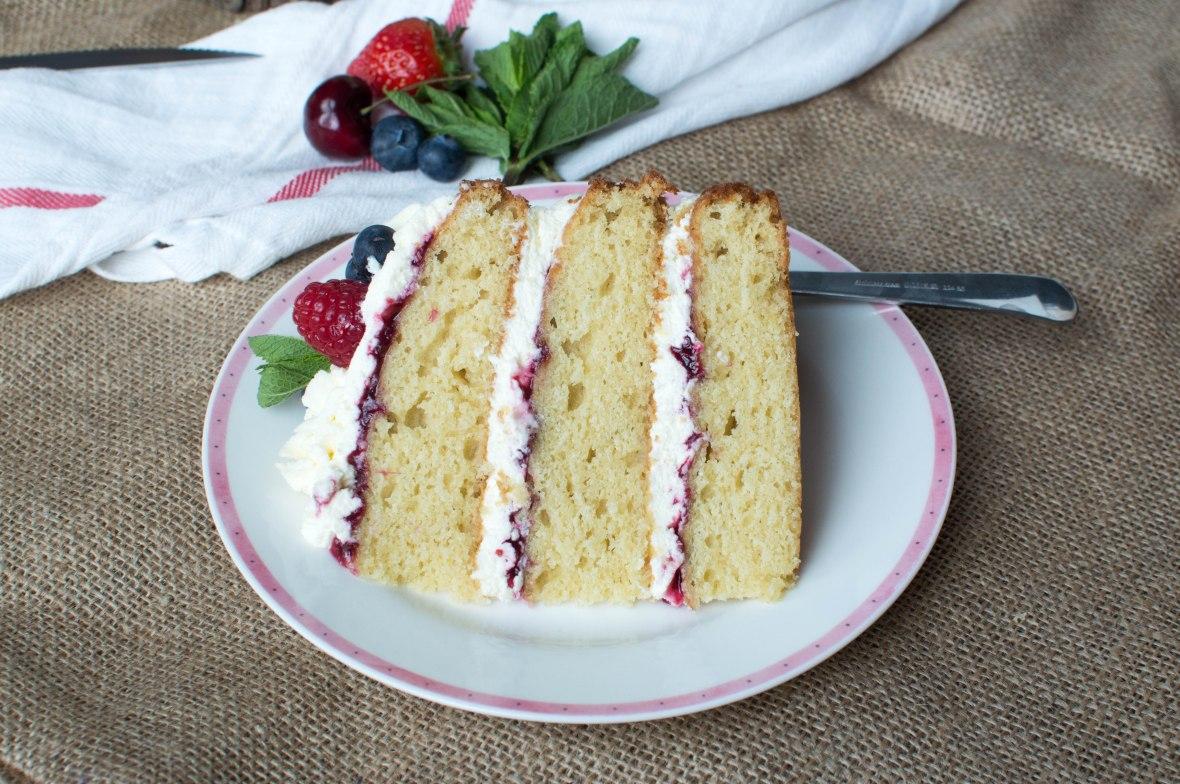 Summer Berries & Cream Cake - Kay's Kitchen