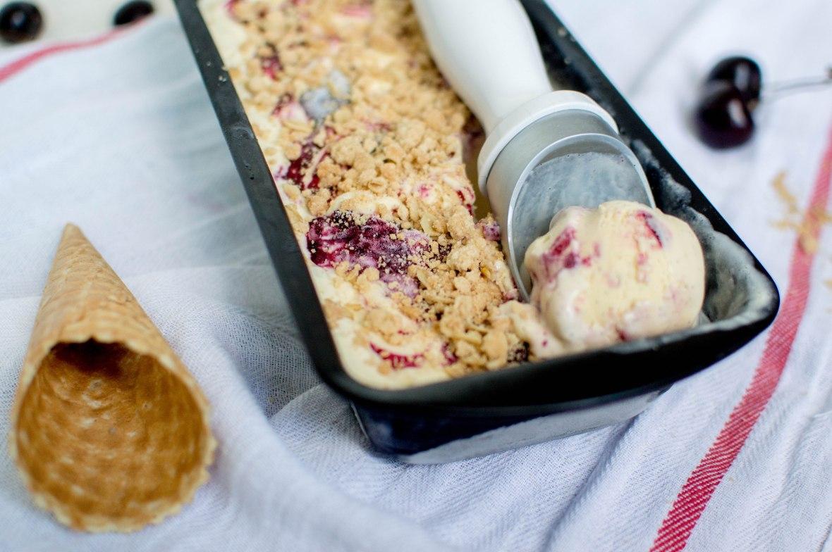 Cherry Swirl Crumble Ice Cream - Kay's Kitchen
