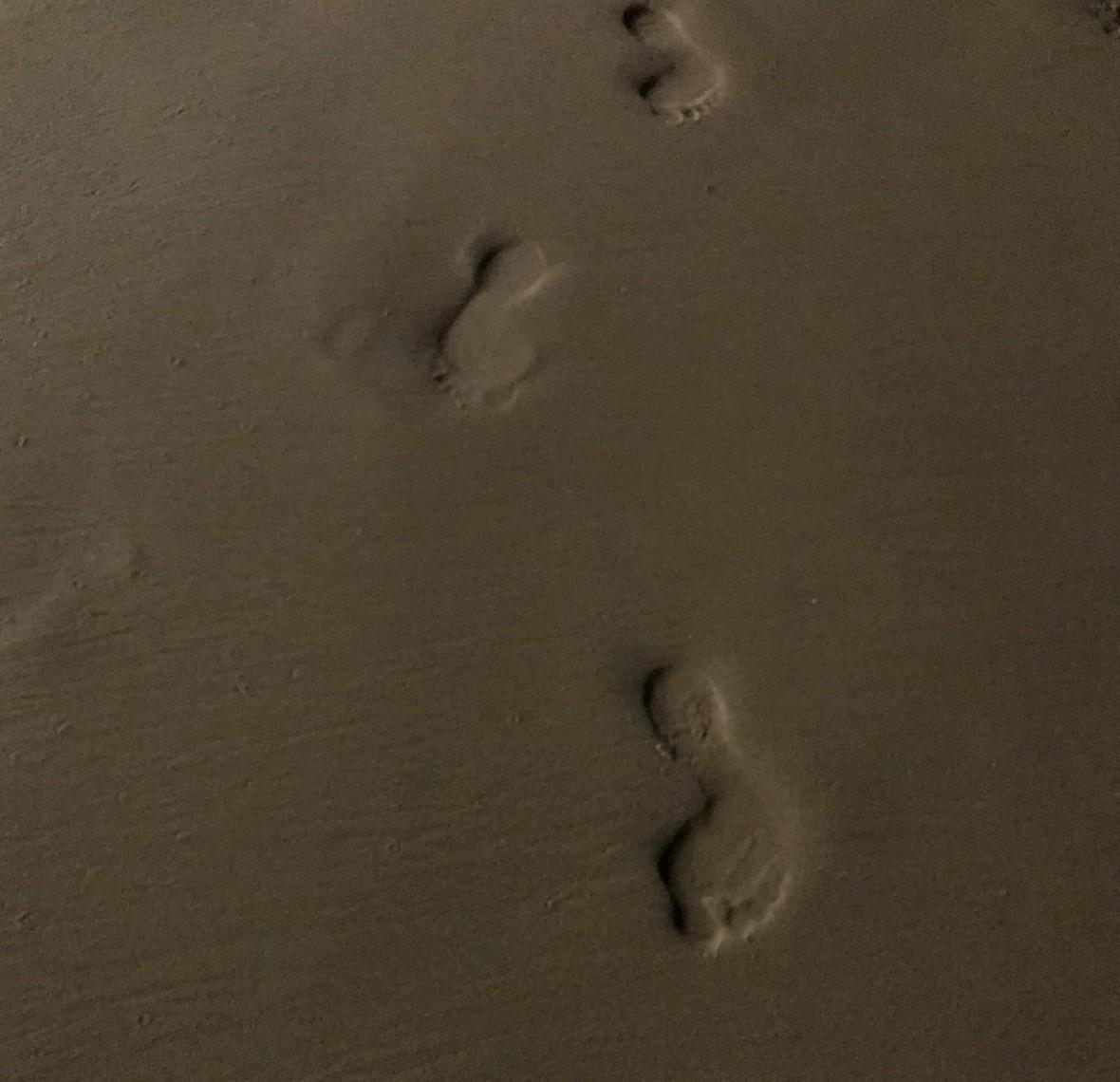 Footprints On The Beach At Night, Mirissa Beach, Sri Lanka
