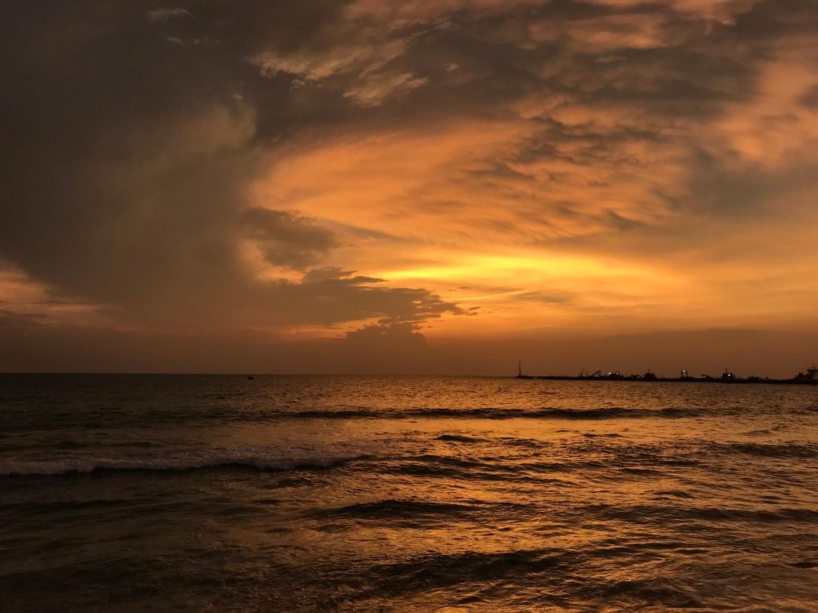 Orange Sunset, Galle Face, Colombo, Sri Lanka