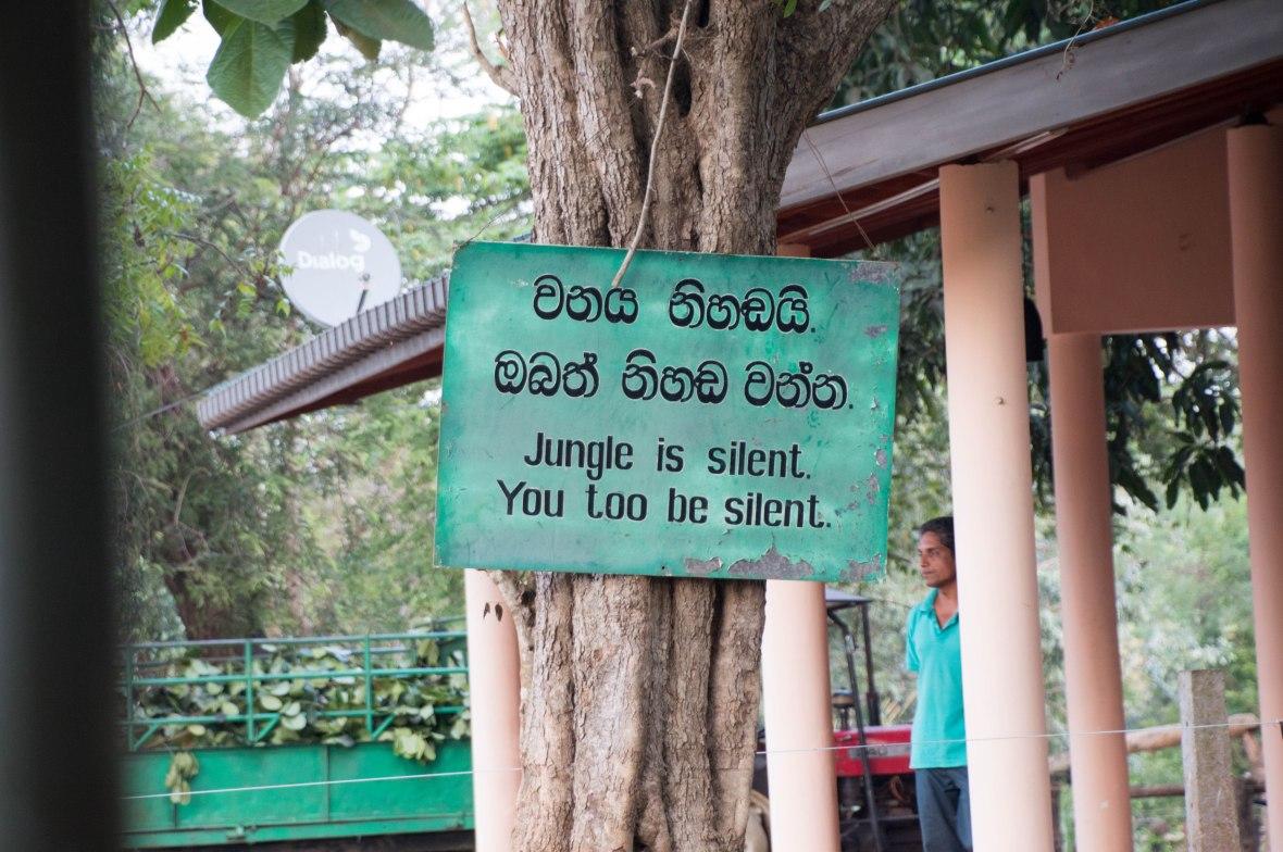 Silence Sign, Udawalawe Elephant Transit Home, Sri Lanka