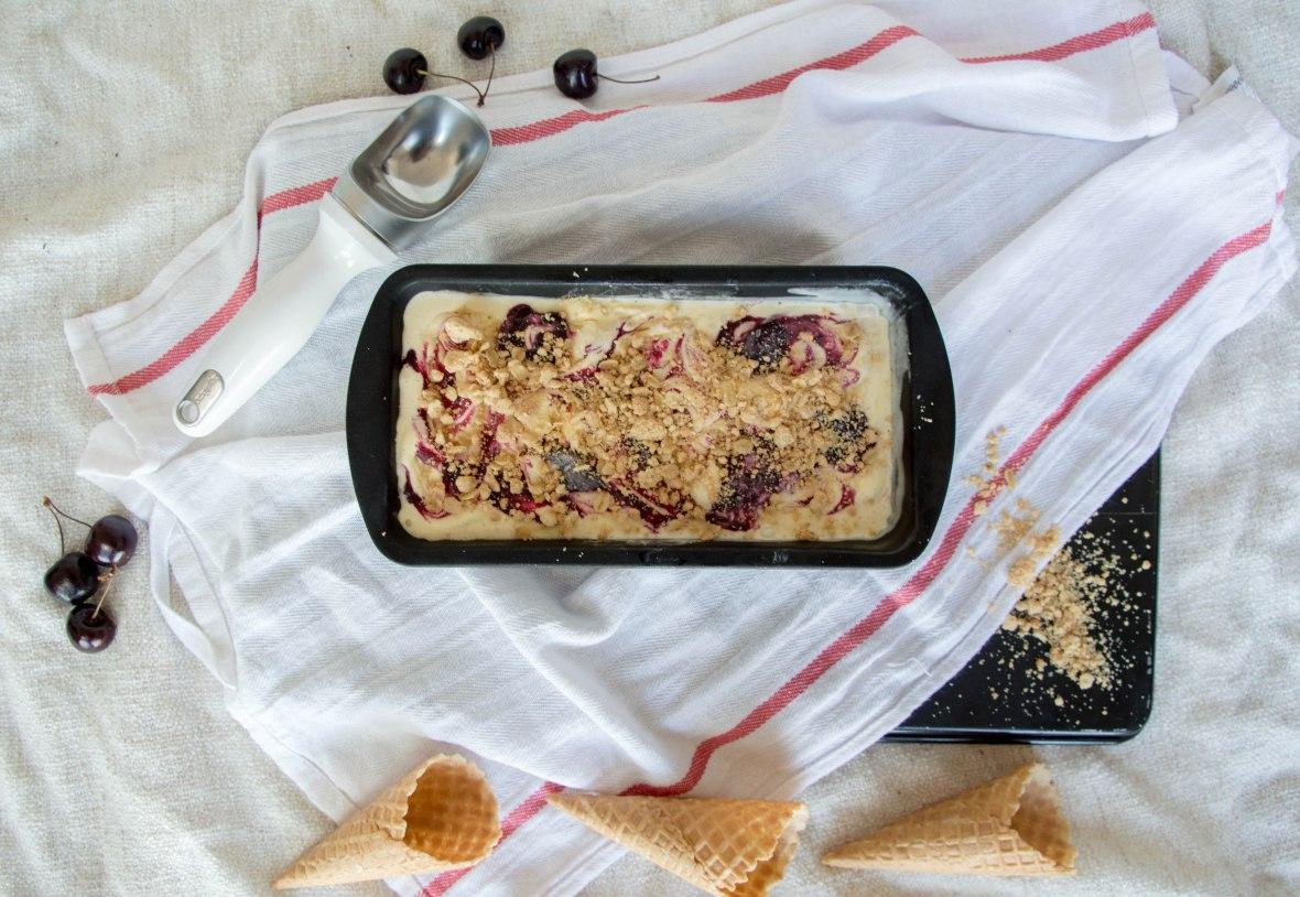 Vanilla Ice Cream With Swirled Cherry Reduction & Crumble - Kay's Kitchen