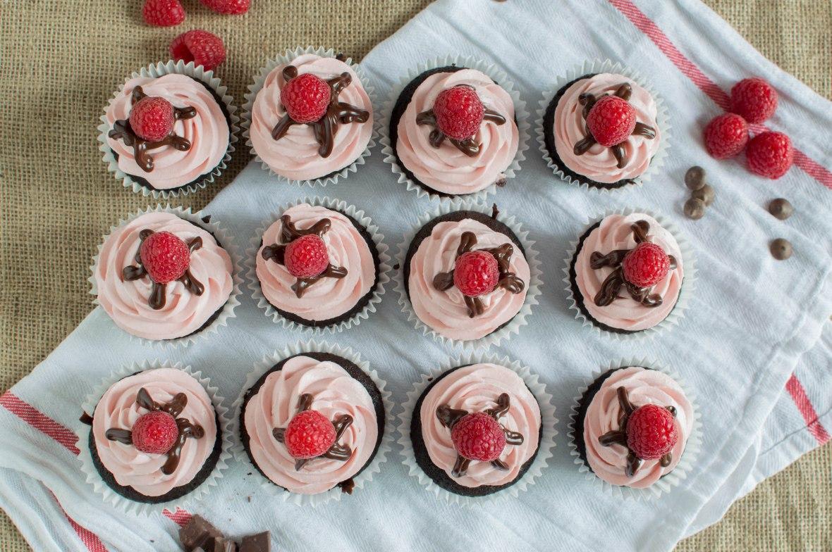 Raspberry and Dark Chocolate Cupcakes Flatlay - Kay's Kitchen