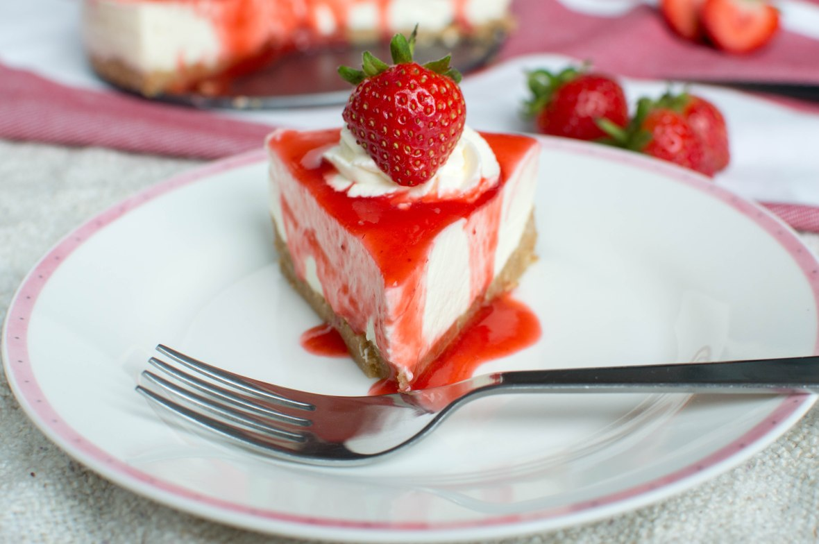 Cheesecake With Strawberry Reduction - Kay's Kitchen