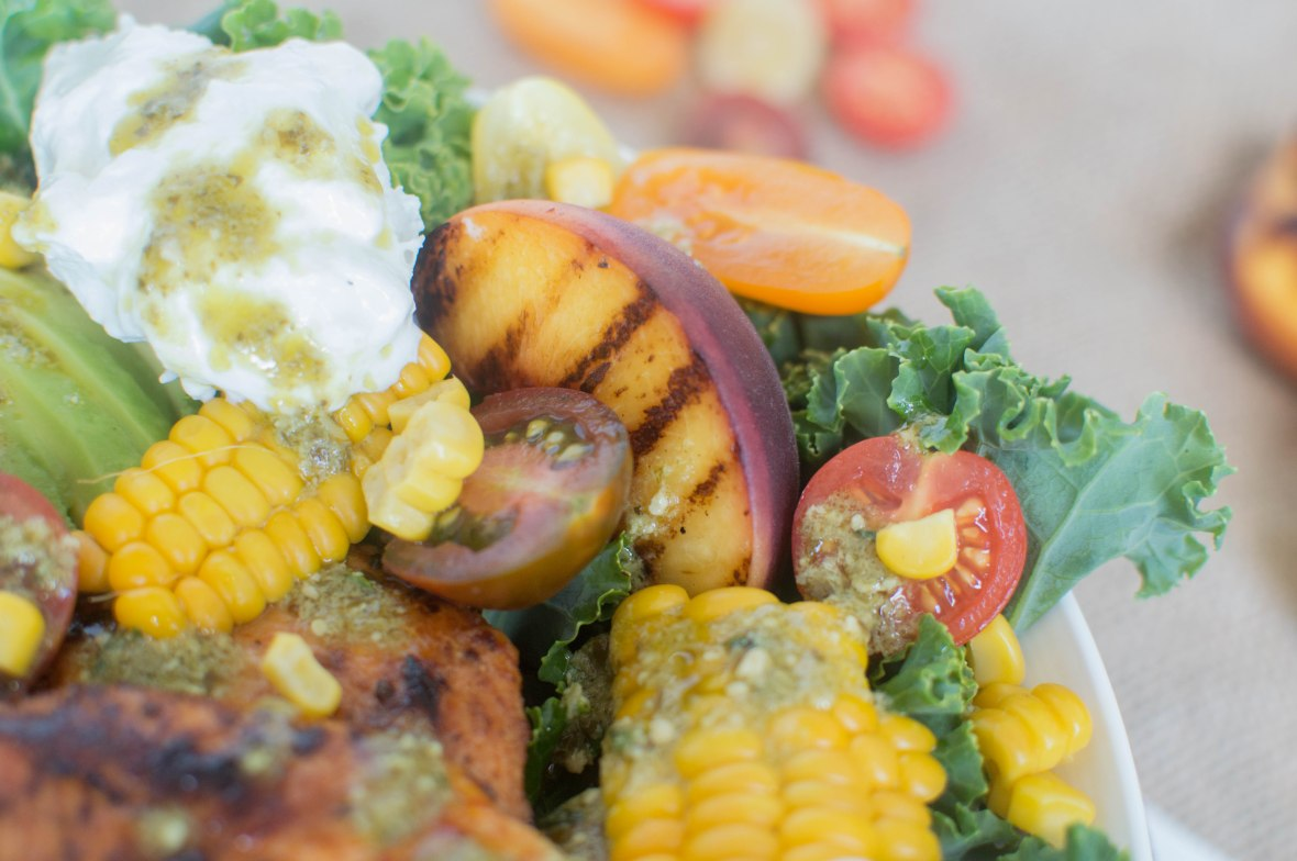 Grilled Peach Chicken Salad - Kay's Kitchen