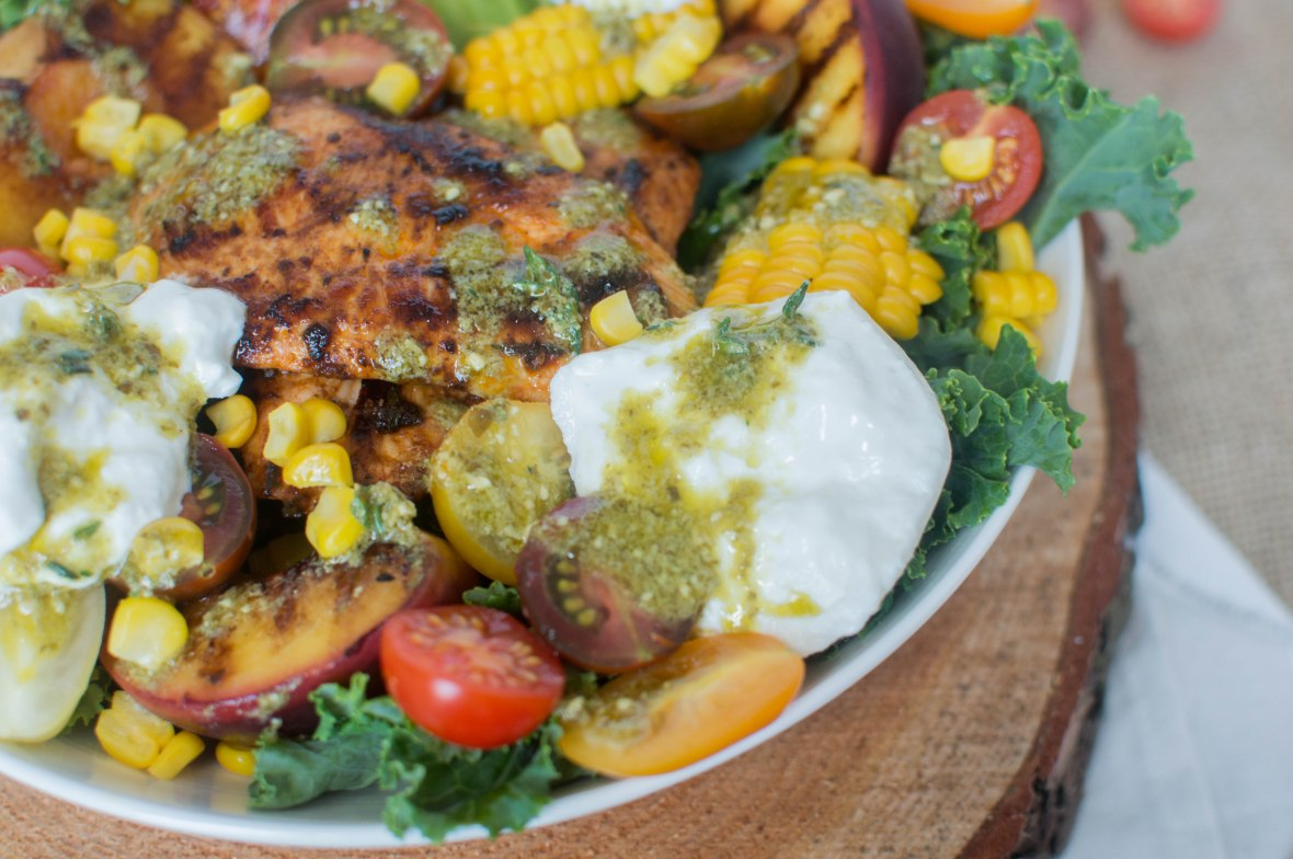 Grilled Peach, Sweetcorn And Chipotle Chicken Salad With Burrata - Kay's Kitchen