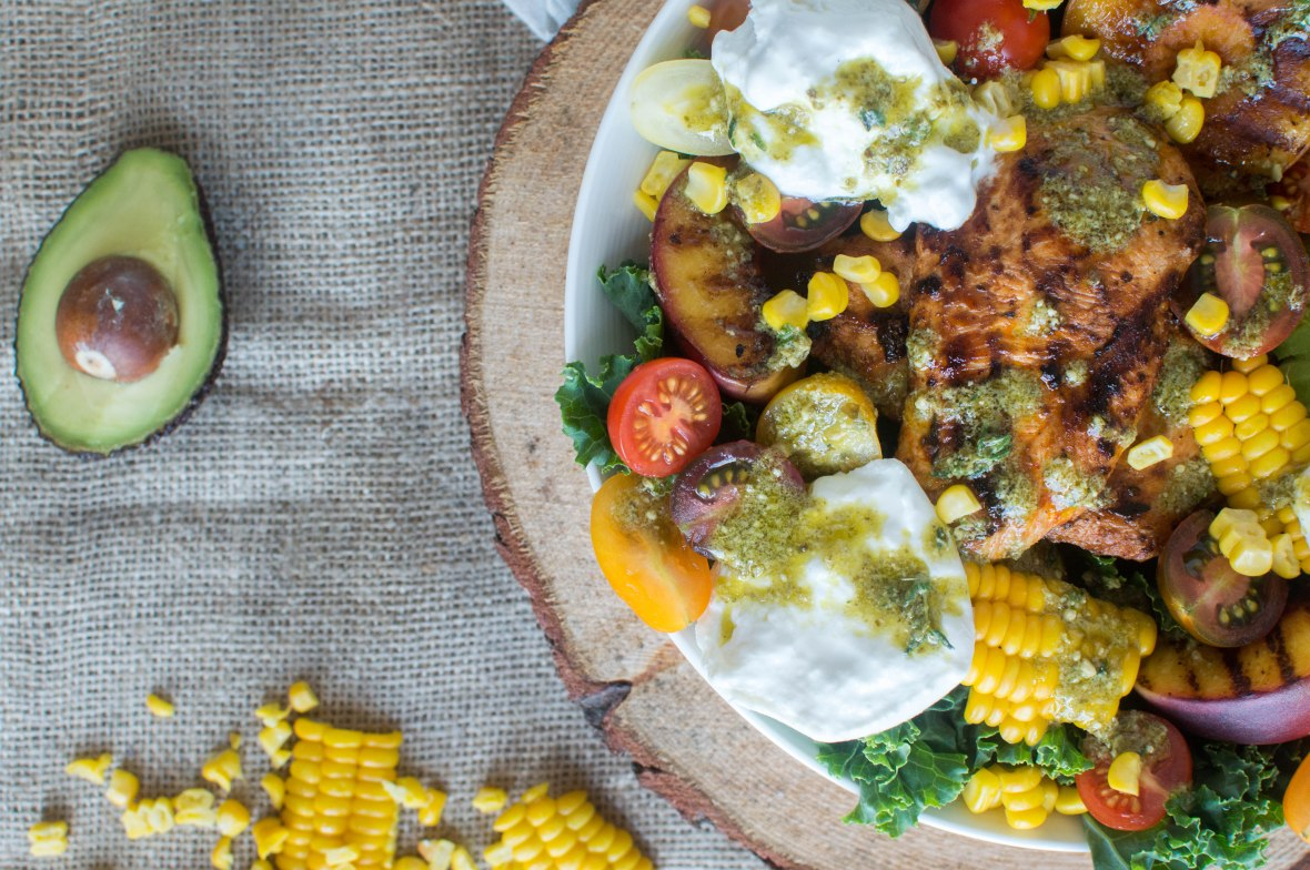 Grilled Peach, Sweetcorn & Chipotle Chicken Salad With Burrata And Avocado - Kay's Kitchen