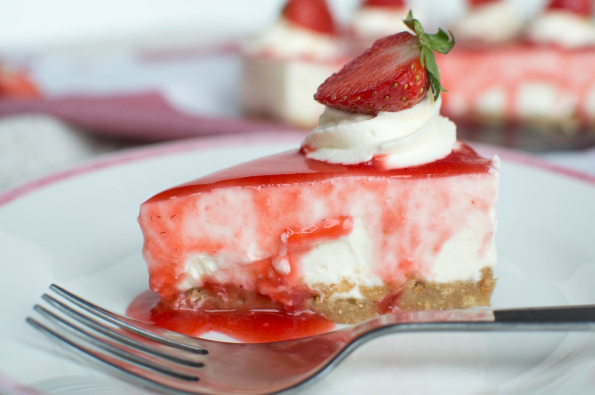 Slice of No Bake Strawberry Cheesecake