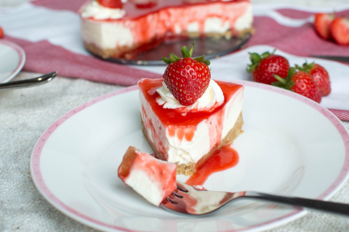 Slice of Strawberry Cheesecake - Kay's Kitchen