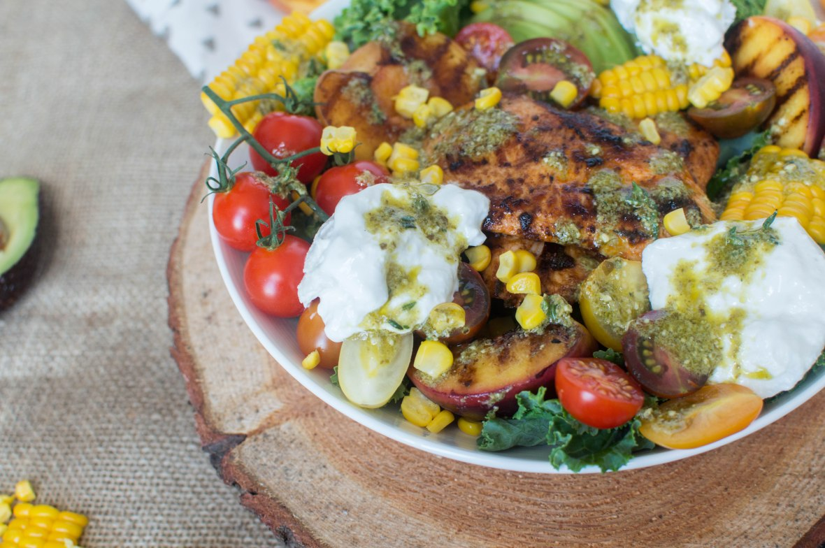 Sweetcorn, Grilled Peach And Chipotle Chicken Salad - Kay's Kitchen