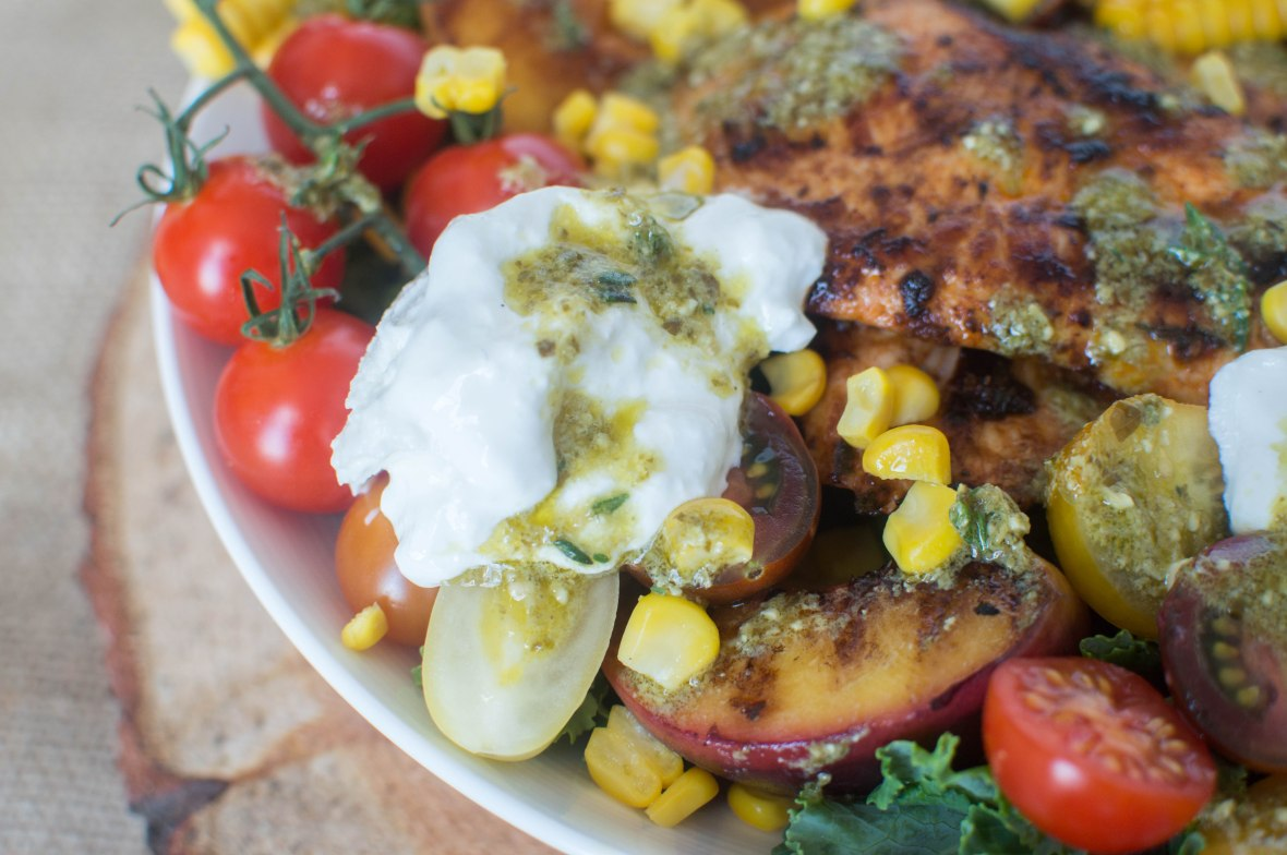 Sweetcorn, Grilled Peach And Chipotle Chicken Salad With Burrata - Kay's Kitchen